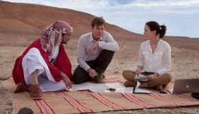 Sheikh (Amr Waked), Dr. Alfred Jones (Ewan McGregor) & Harriet Chetwode-Talbot (Emily Blunt) in SALMON FISHING IN THE YEMEN. | Photo Credit: Alliance Films